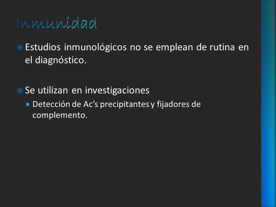 Estudios inmunológicos no se emplean de rutina en el diagnóstico. Se utilizan en investigaciones Detección de Acs precipitantes y fijadores de complem