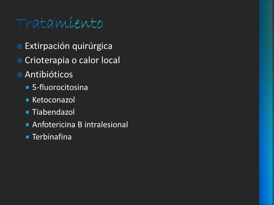 Extirpación quirúrgica Crioterapia o calor local Antibióticos 5-fluorocitosina Ketoconazol Tiabendazol Anfotericina B intralesional Terbinafina