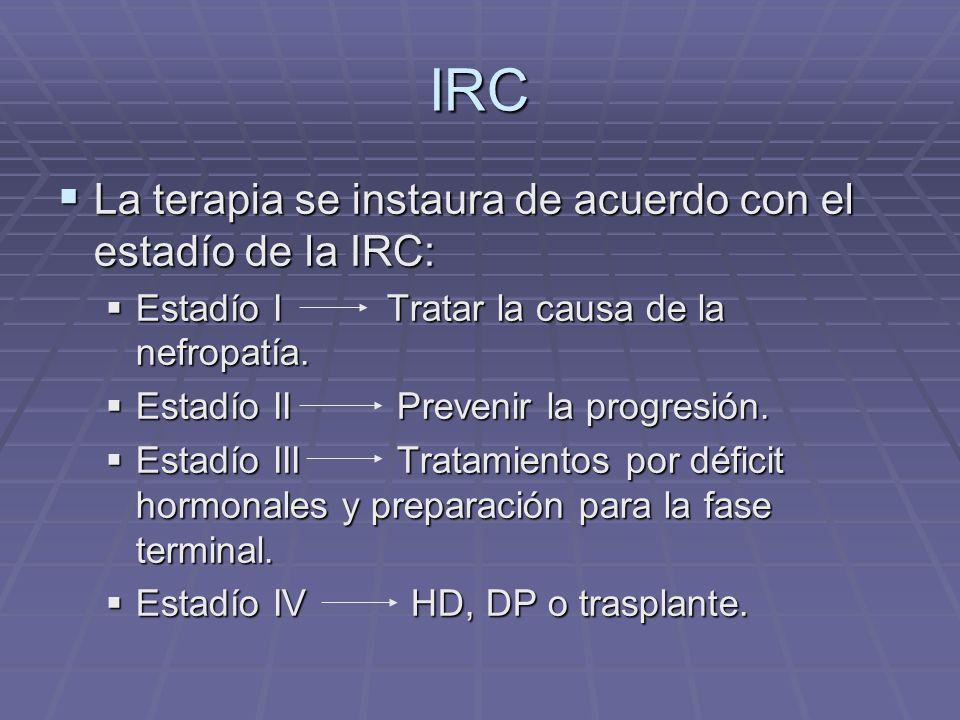 IRC La terapia se instaura de acuerdo con el estadío de la IRC: La terapia se instaura de acuerdo con el estadío de la IRC: Estadío I Tratar la causa