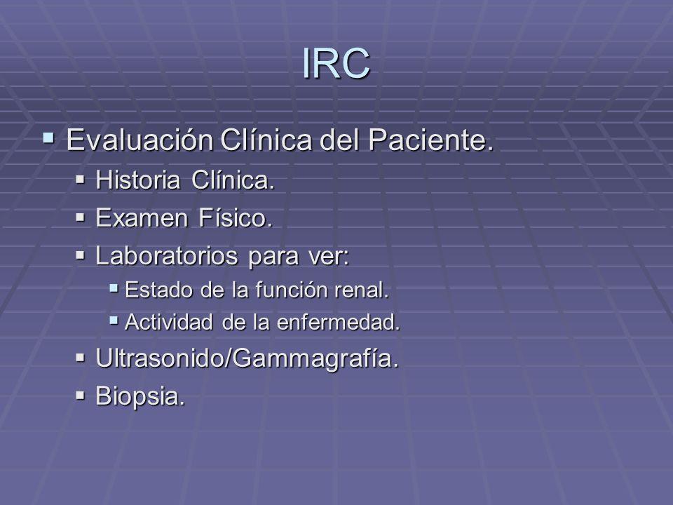 IRC Evaluación Clínica del Paciente. Evaluación Clínica del Paciente. Historia Clínica. Historia Clínica. Examen Físico. Examen Físico. Laboratorios p
