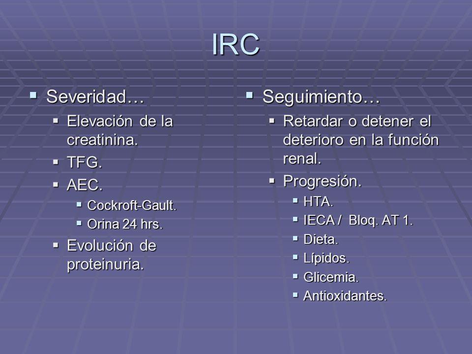 IRC Severidad… Severidad… Elevación de la creatinina. Elevación de la creatinina. TFG. TFG. AEC. AEC. Cockroft-Gault. Cockroft-Gault. Orina 24 hrs. Or