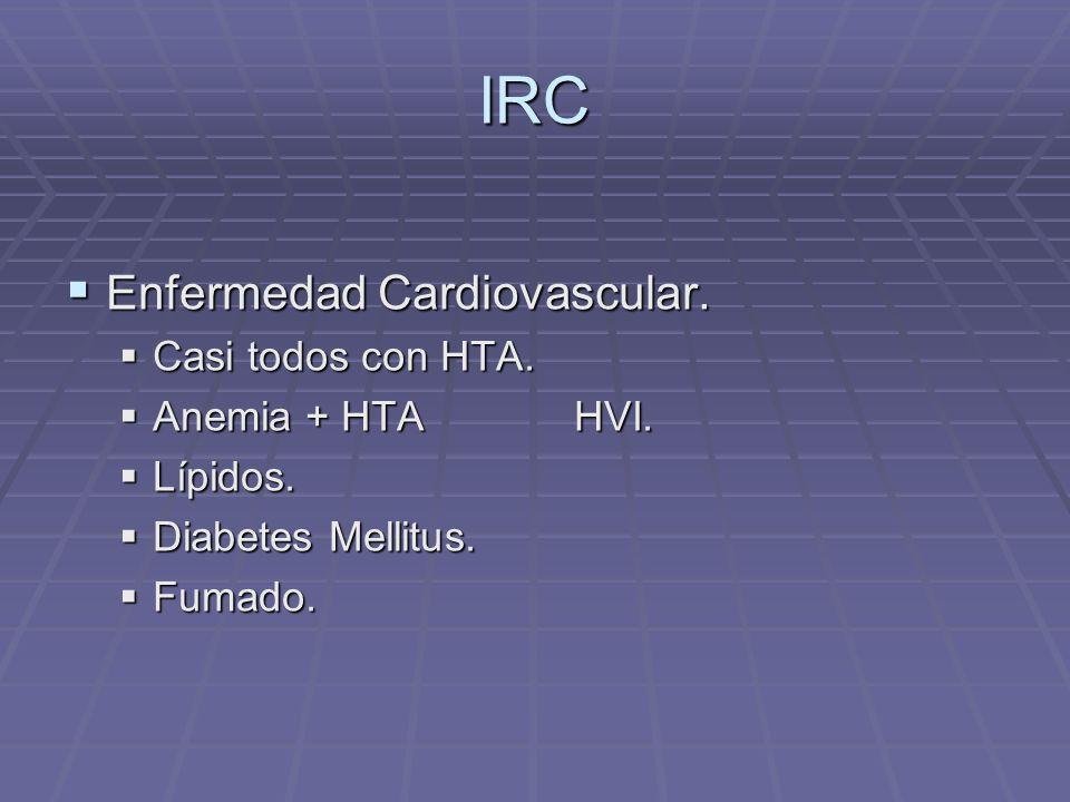 IRC Enfermedad Cardiovascular. Enfermedad Cardiovascular. Casi todos con HTA. Casi todos con HTA. Anemia + HTA HVI. Anemia + HTA HVI. Lípidos. Lípidos