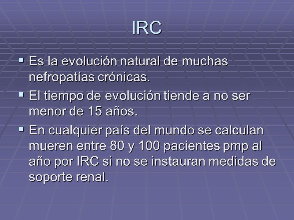 IRC Es la evolución natural de muchas nefropatías crónicas. Es la evolución natural de muchas nefropatías crónicas. El tiempo de evolución tiende a no