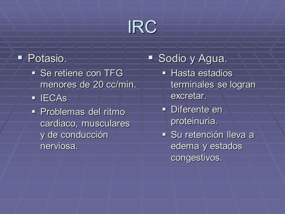 IRC Potasio. Potasio. Se retiene con TFG menores de 20 cc/min. Se retiene con TFG menores de 20 cc/min. IECAs IECAs Problemas del ritmo cardiaco, musc