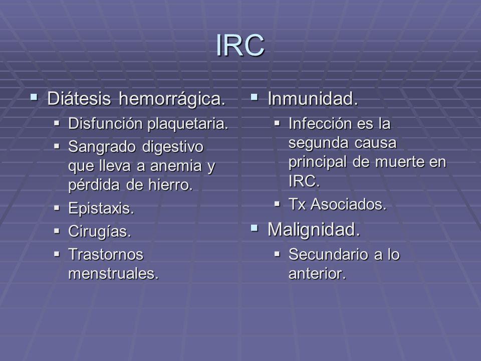 IRC Diátesis hemorrágica. Diátesis hemorrágica. Disfunción plaquetaria. Disfunción plaquetaria. Sangrado digestivo que lleva a anemia y pérdida de hie