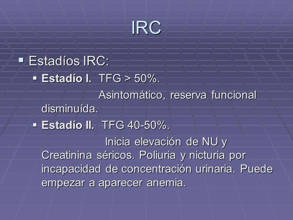 IRC Estadío III.TFG 20 – 40%. Estadío III. TFG 20 – 40%.