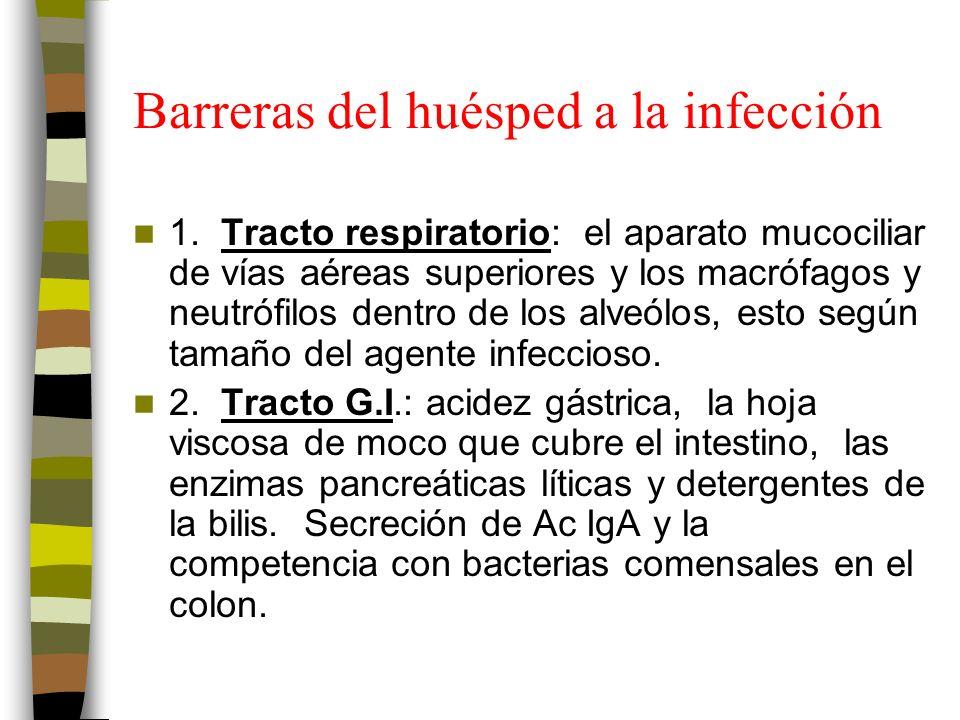 Barreras del huésped a la infección 1.