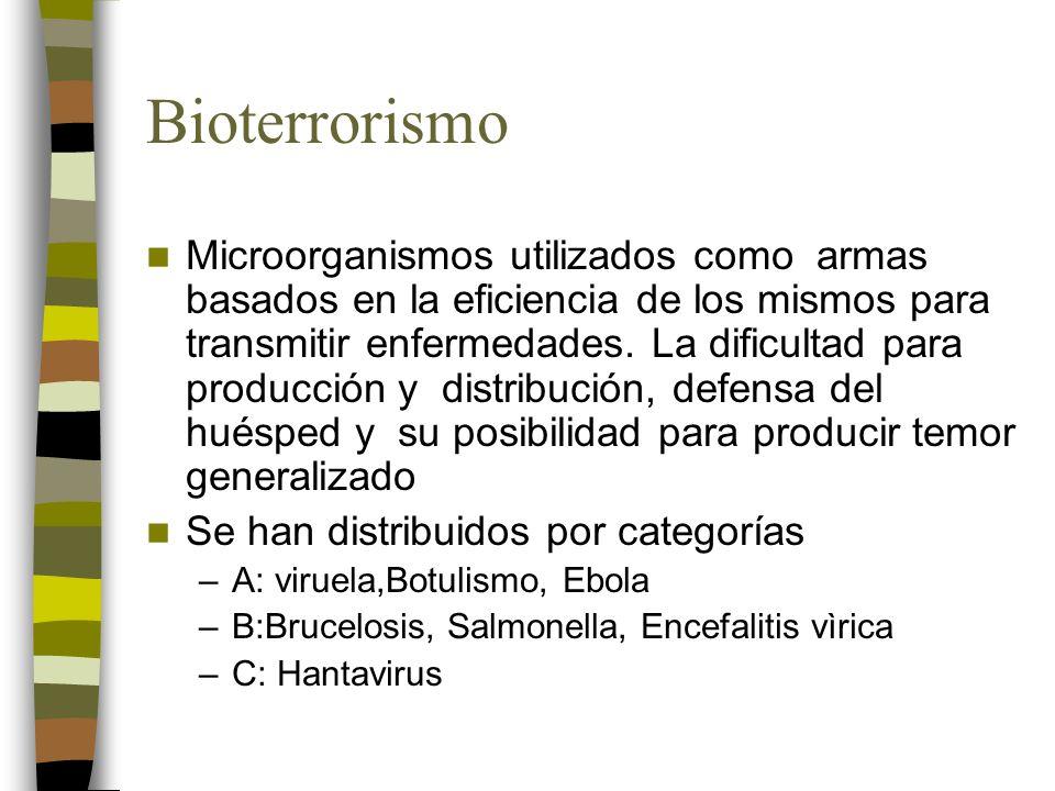Bioterrorismo Microorganismos utilizados como armas basados en la eficiencia de los mismos para transmitir enfermedades.