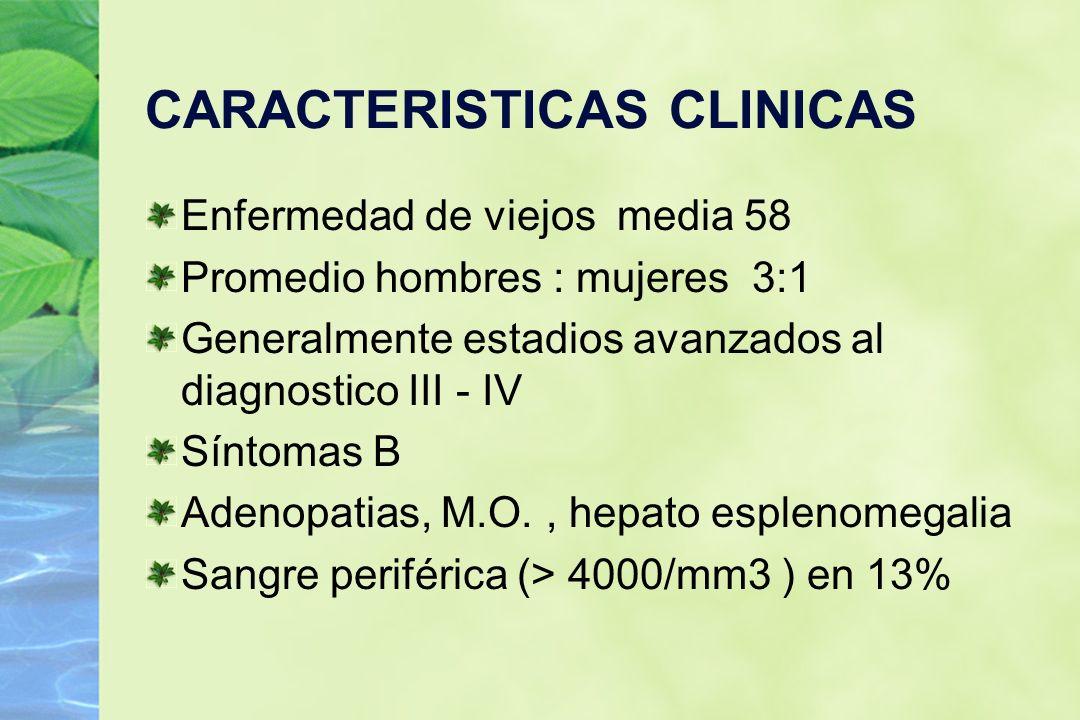 CARACTERISTICAS CLINICAS Enfermedad de viejos media 58 Promedio hombres : mujeres 3:1 Generalmente estadios avanzados al diagnostico III - IV Síntomas