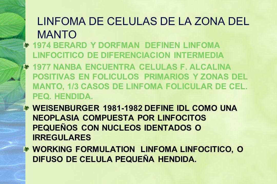 LINFOMA DE CELULAS DE LA ZONA DEL MANTO 1974 BERARD Y DORFMAN DEFINEN LINFOMA LINFOCITICO DE DIFERENCIACION INTERMEDIA 1977 NANBA ENCUENTRA CELULAS F.