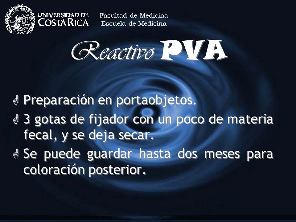 Reactivo PVA G Preparación en portaobjetos. G 3 gotas de fijador con un poco de materia fecal, y se deja secar. G Se puede guardar hasta dos meses par