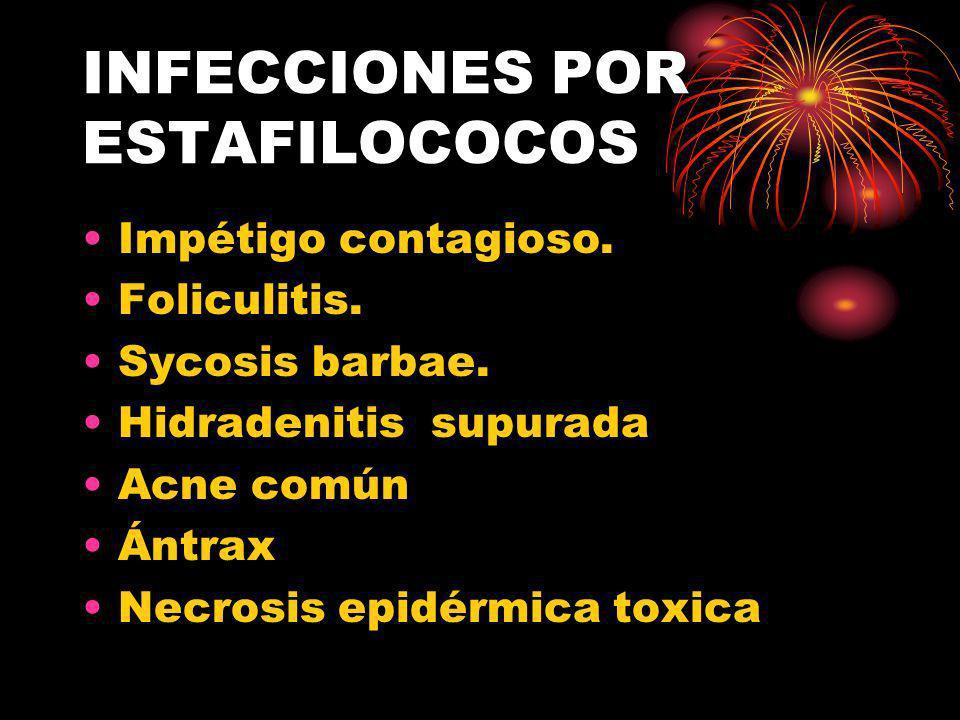 INFECCIONES POR ESTAFILOCOCOS Impétigo contagioso. Foliculitis. Sycosis barbae. Hidradenitis supurada Acne común Ántrax Necrosis epidérmica toxica