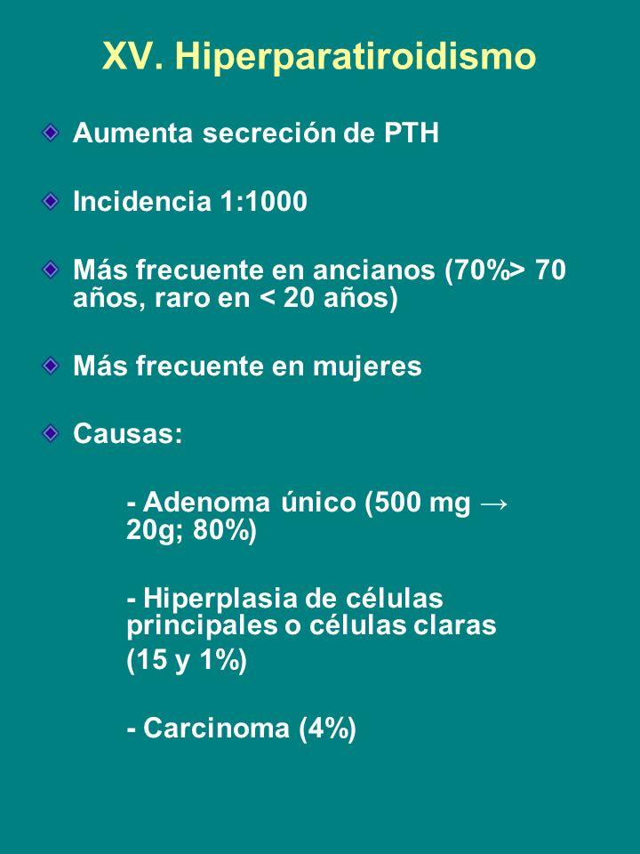 XV. Hiperparatiroidismo Aumenta secreción de PTH Incidencia 1:1000 Más frecuente en ancianos (70%> 70 años, raro en < 20 años) Más frecuente en mujere
