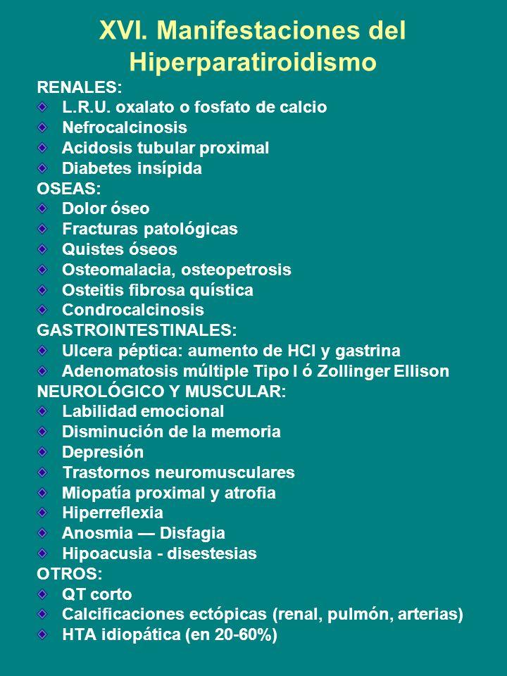 XVI. Manifestaciones del Hiperparatiroidismo RENALES: L.R.U. oxalato o fosfato de calcio Nefrocalcinosis Acidosis tubular proximal Diabetes insípida O