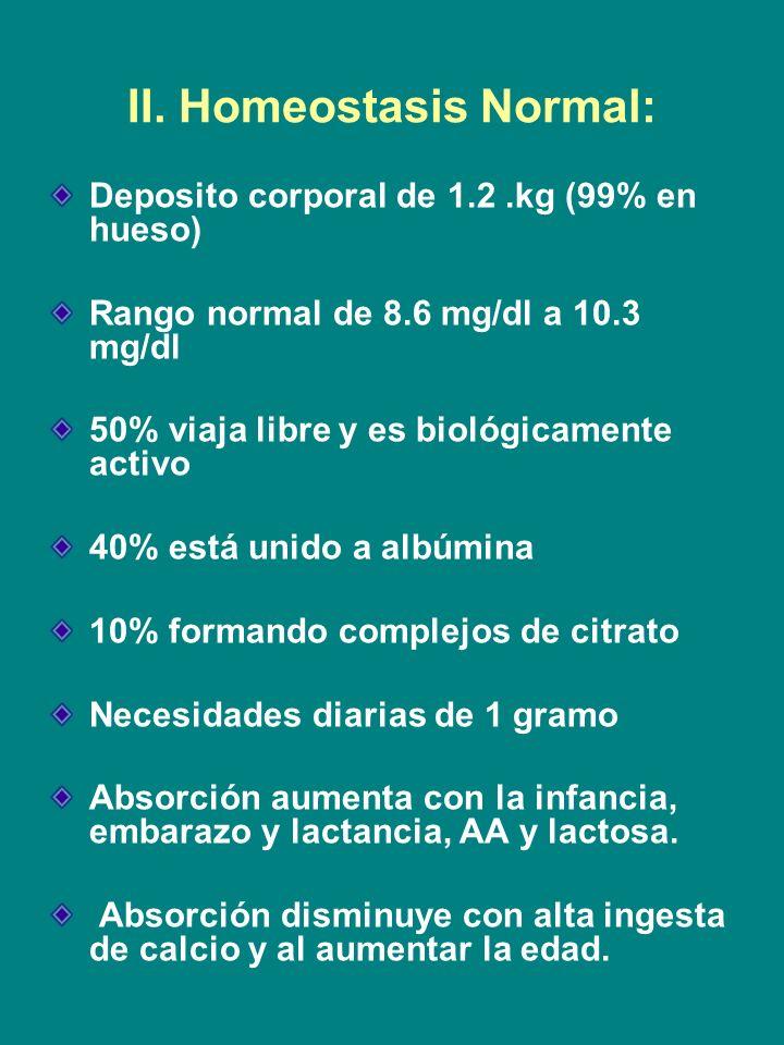 II. Homeostasis Normal: Deposito corporal de 1.2.kg (99% en hueso) Rango normal de 8.6 mg/dl a 10.3 mg/dl 50% viaja libre y es biológicamente activo 4
