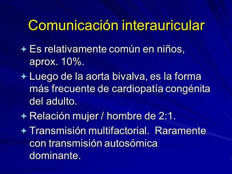 Comunicación interauricular ª Es relativamente común en niños, aprox. 10%. ª Luego de la aorta bivalva, es la forma más frecuente de cardiopatía congé