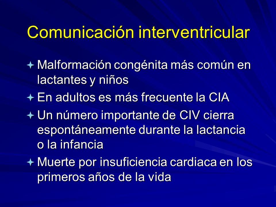 Comunicación interventricular ª Malformación congénita más común en lactantes y niños ª En adultos es más frecuente la CIA ª Un número importante de C