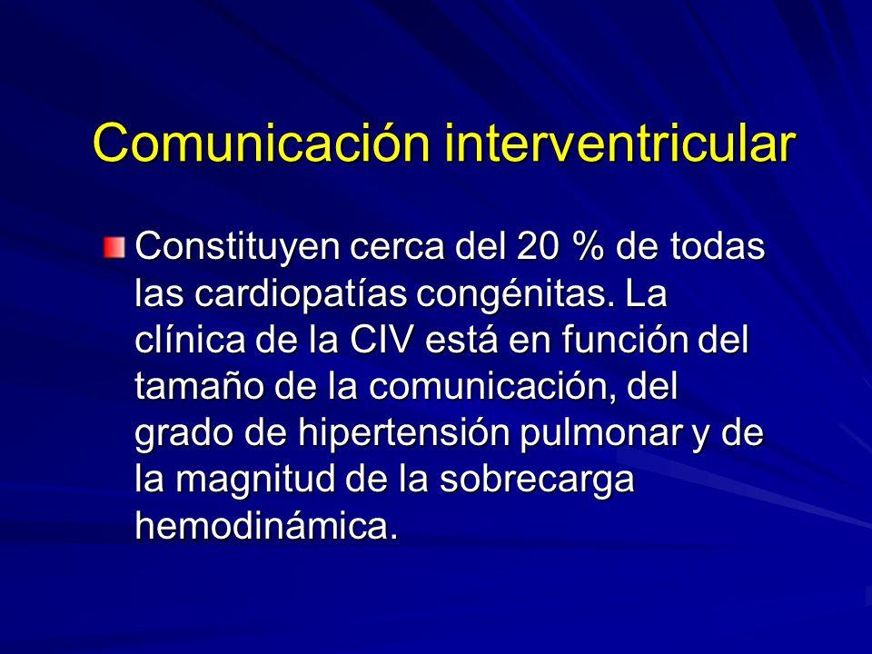 Comunicación interventricular Constituyen cerca del 20 % de todas las cardiopatías congénitas. La clínica de la CIV está en función del tamaño de la c