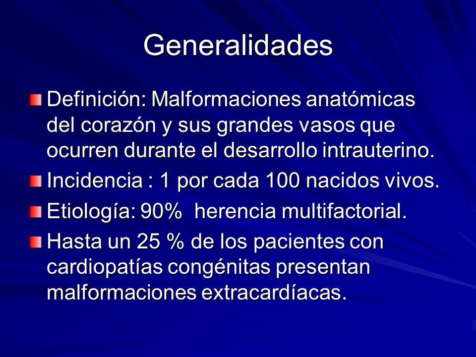 Generalidades Definición: Malformaciones anatómicas del corazón y sus grandes vasos que ocurren durante el desarrollo intrauterino. Incidencia : 1 por