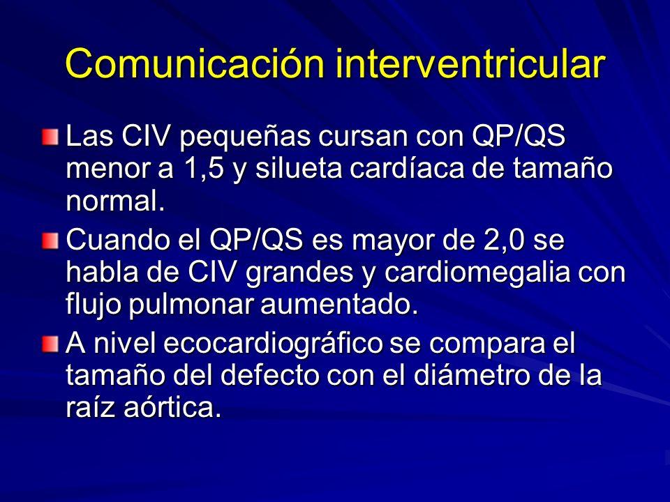Comunicación interventricular Las CIV pequeñas cursan con QP/QS menor a 1,5 y silueta cardíaca de tamaño normal. Cuando el QP/QS es mayor de 2,0 se ha