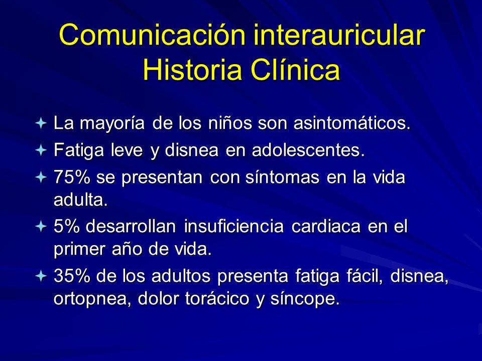 Comunicación interauricular Historia Clínica ª La mayoría de los niños son asintomáticos. ª Fatiga leve y disnea en adolescentes. ª 75% se presentan c