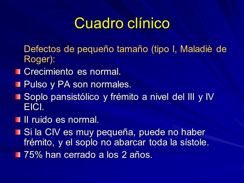 Cuadro clínico Defectos de pequeño tamaño (tipo I, Maladiè de Roger): Crecimiento es normal. Pulso y PA son normales. Soplo pansistólico y frémito a n