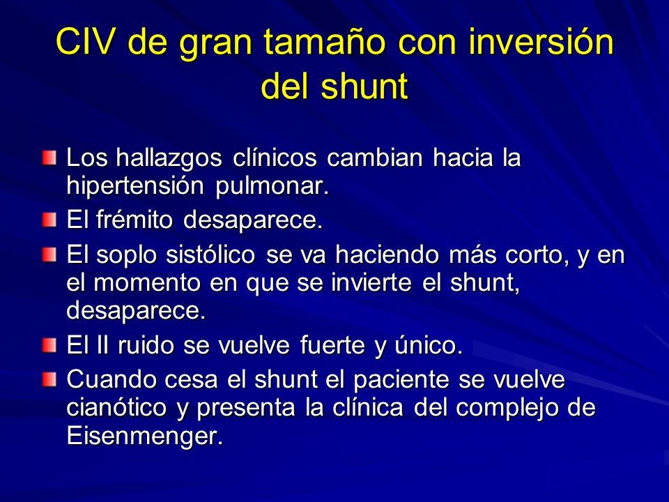 CIV de gran tamaño con inversión del shunt Los hallazgos clínicos cambian hacia la hipertensión pulmonar. El frémito desaparece. El soplo sistólico se