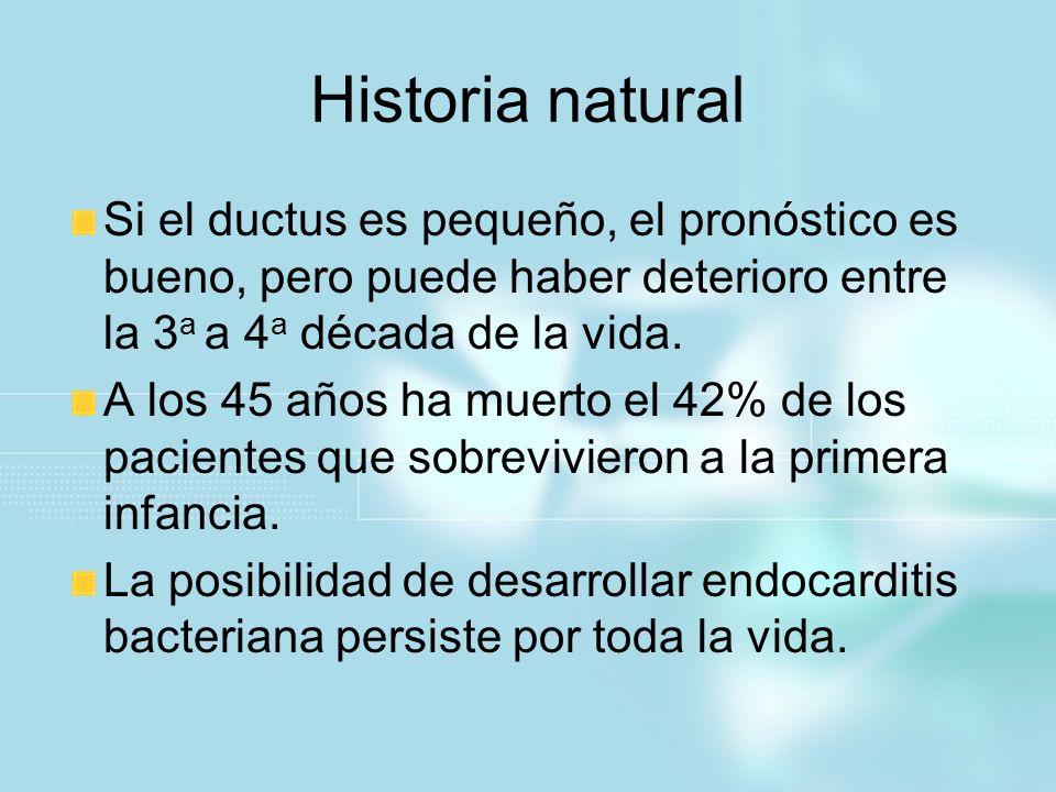 Historia natural Si el ductus es pequeño, el pronóstico es bueno, pero puede haber deterioro entre la 3 a a 4 a década de la vida. A los 45 años ha mu