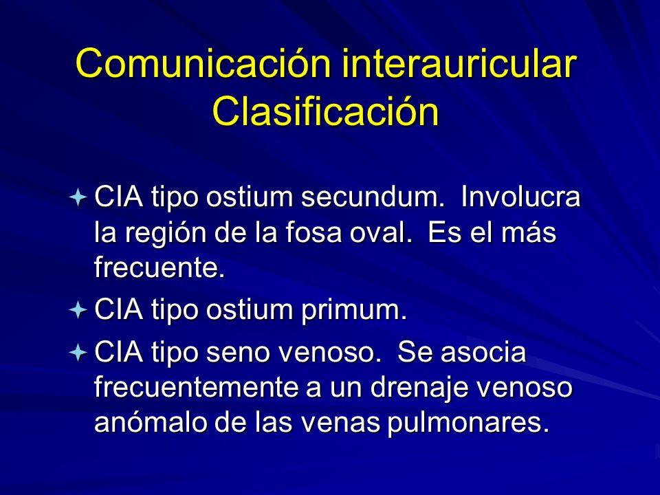Comunicación interauricular Clasificación ª CIA tipo ostium secundum. Involucra la región de la fosa oval. Es el más frecuente. ª CIA tipo ostium prim