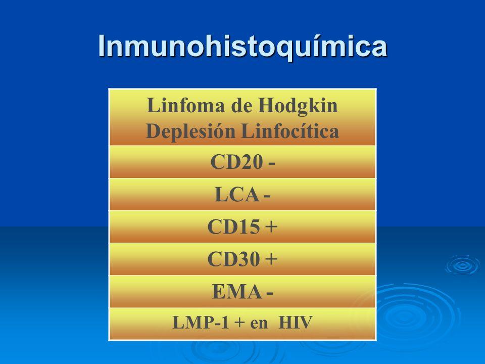 Inmunohistoquímica Linfoma de Hodgkin Deplesión Linfocítica CD20 - LCA - CD15 + CD30 + EMA - LMP-1 + en HIV
