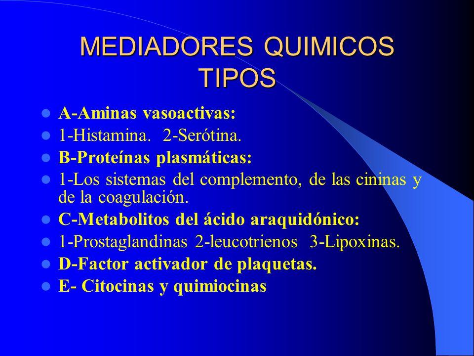 Proteasas Plasmáticas La bradicinina, C3a, C5a (incrementan la permeabilidad vascular*) ; C5a (quimotaxis*), y la trombina ( además aumenta la adhesión leucocitaria y proliferación de fibroblasto).