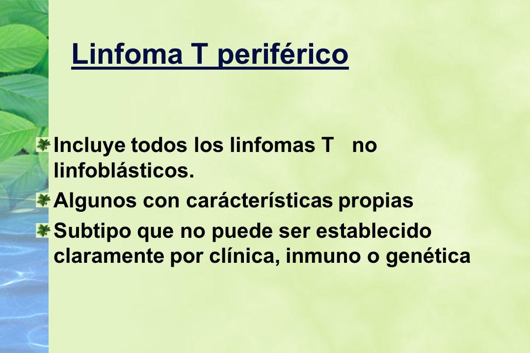 Linfoma T periférico Incluye todos los linfomas T no linfoblásticos. Algunos con carácterísticas propias Subtipo que no puede ser establecido claramen