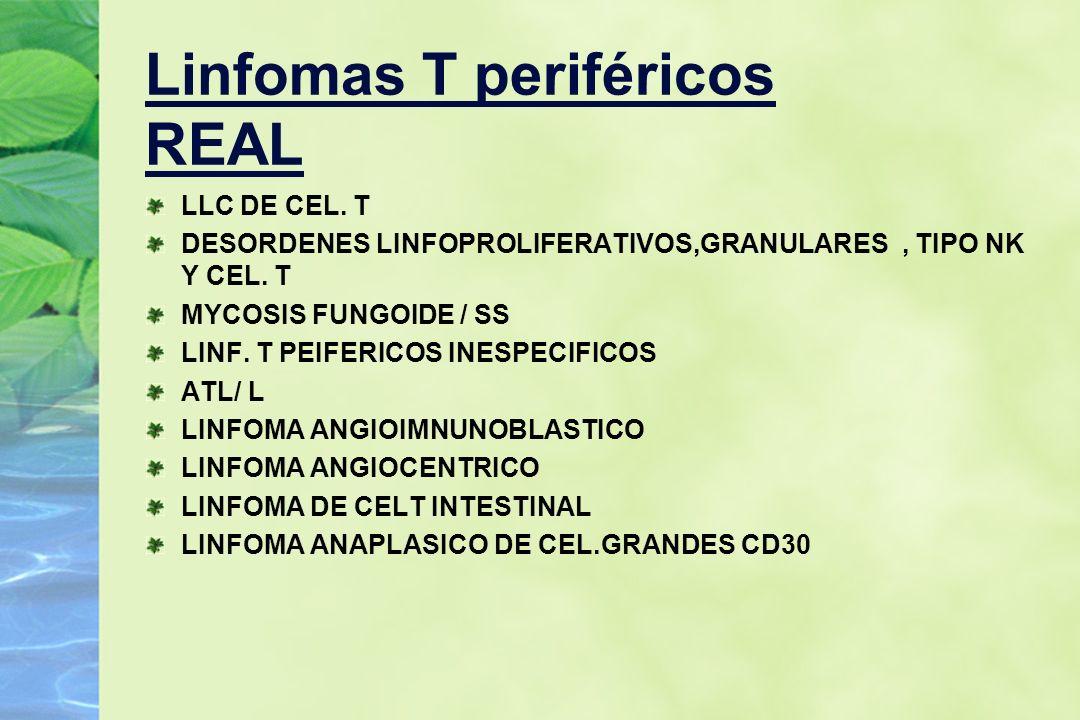Linfomas T periféricos REAL LLC DE CEL. T DESORDENES LINFOPROLIFERATIVOS,GRANULARES, TIPO NK Y CEL. T MYCOSIS FUNGOIDE / SS LINF. T PEIFERICOS INESPEC