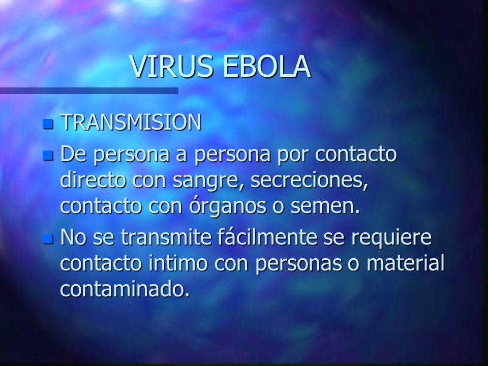 VIRUS EBOLA n TRANSMISION n De persona a persona por contacto directo con sangre, secreciones, contacto con órganos o semen. n No se transmite fácilme