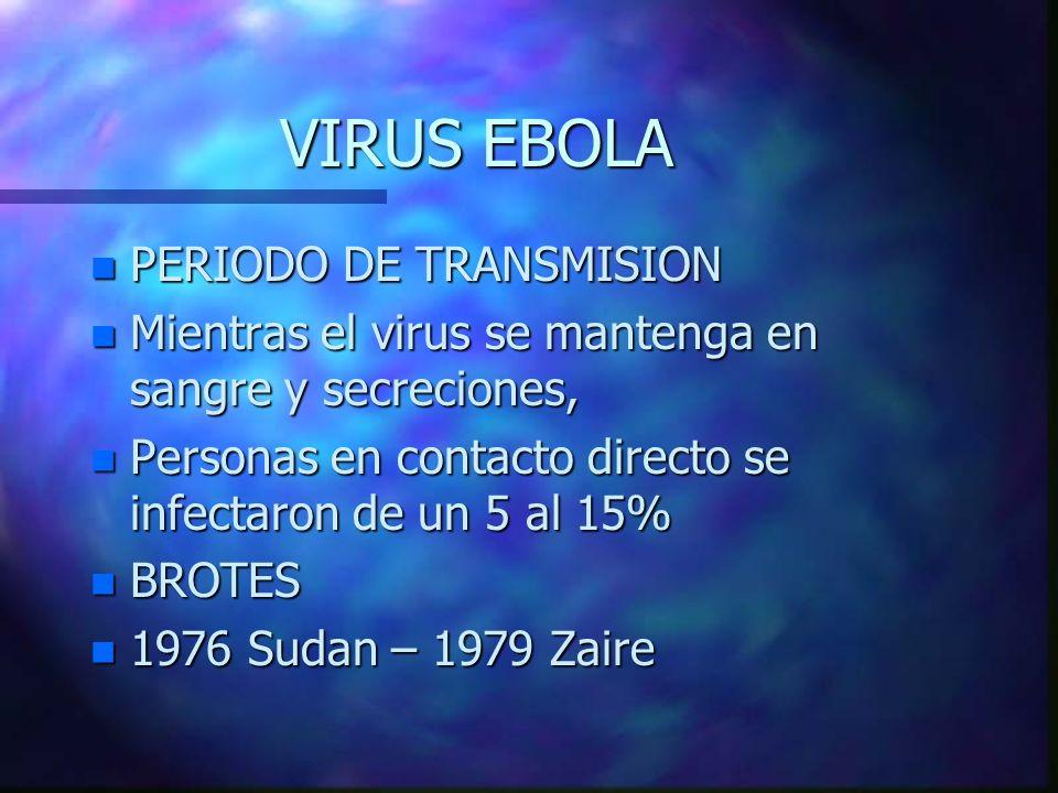 VIRUS EBOLA n PERIODO DE TRANSMISION n Mientras el virus se mantenga en sangre y secreciones, n Personas en contacto directo se infectaron de un 5 al