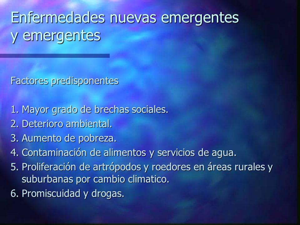 Enfermedades nuevas emergentes y emergentes Factores predisponentes 1.Mayor grado de brechas sociales. 2.Deterioro ambiental. 3.Aumento de pobreza. 4.