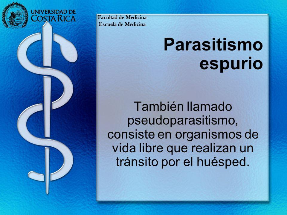 Parasitismo espurio También llamado pseudoparasitismo, consiste en organismos de vida libre que realizan un tránsito por el huésped. Facultad de Medic