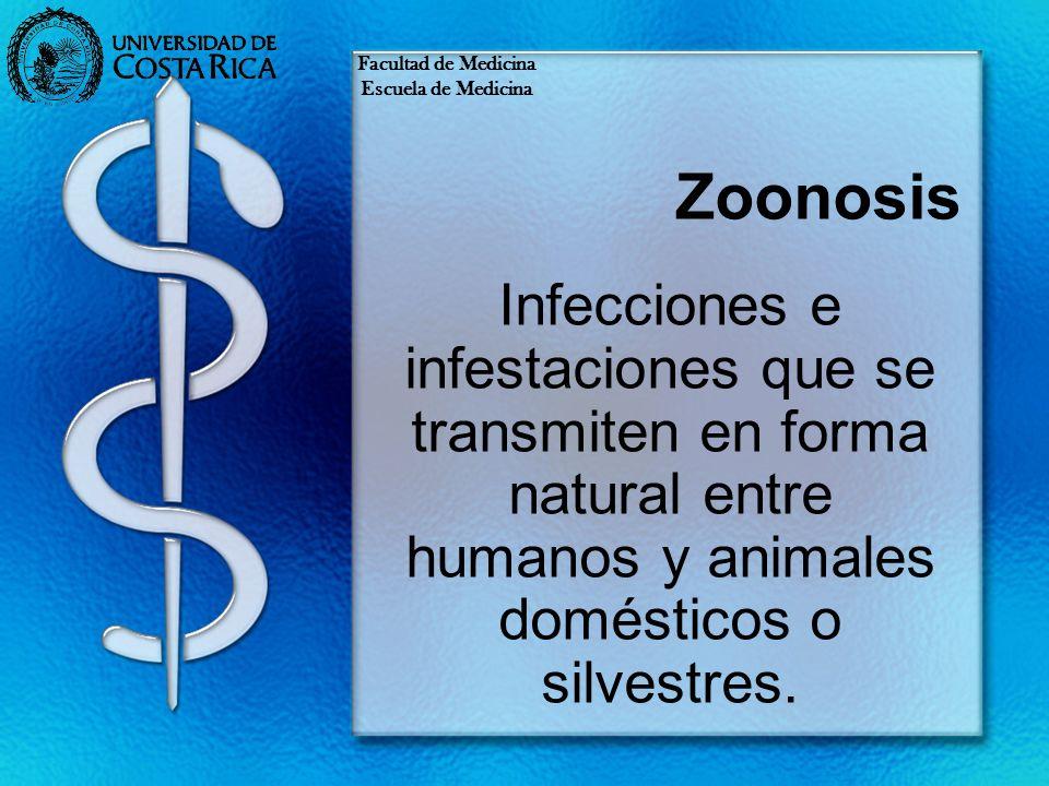 Zoonosis Infecciones e infestaciones que se transmiten en forma natural entre humanos y animales domésticos o silvestres. Facultad de Medicina Escuela