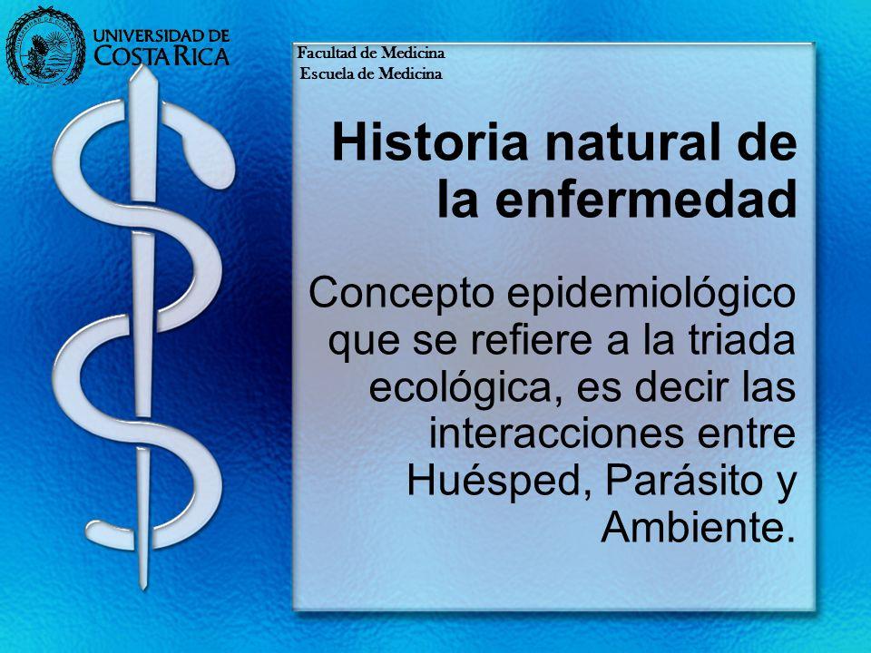 Historia natural de la enfermedad Concepto epidemiológico que se refiere a la triada ecológica, es decir las interacciones entre Huésped, Parásito y A