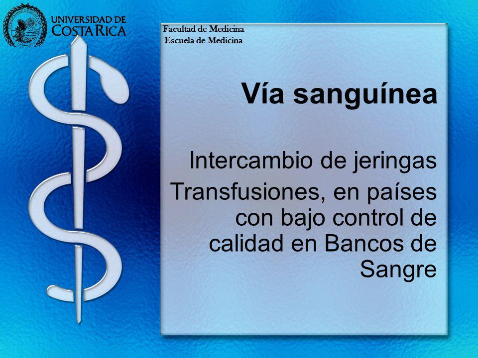 Vía sanguínea Intercambio de jeringas Transfusiones, en países con bajo control de calidad en Bancos de Sangre Facultad de Medicina Escuela de Medicin