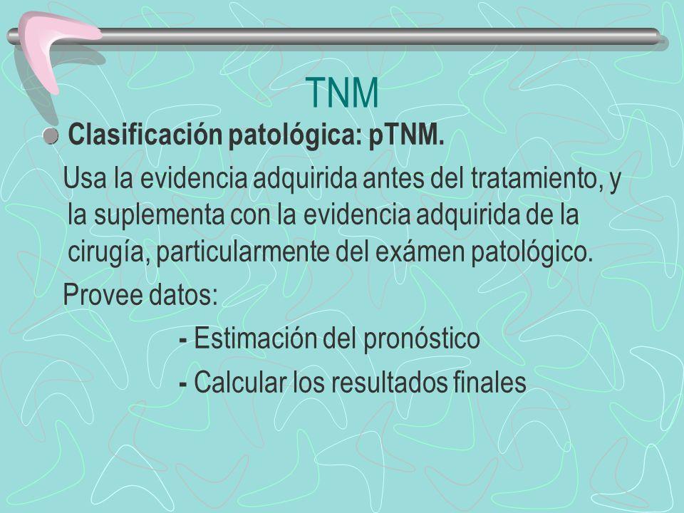 Clasificación patológica: pTNM. Usa la evidencia adquirida antes del tratamiento, y la suplementa con la evidencia adquirida de la cirugía, particular