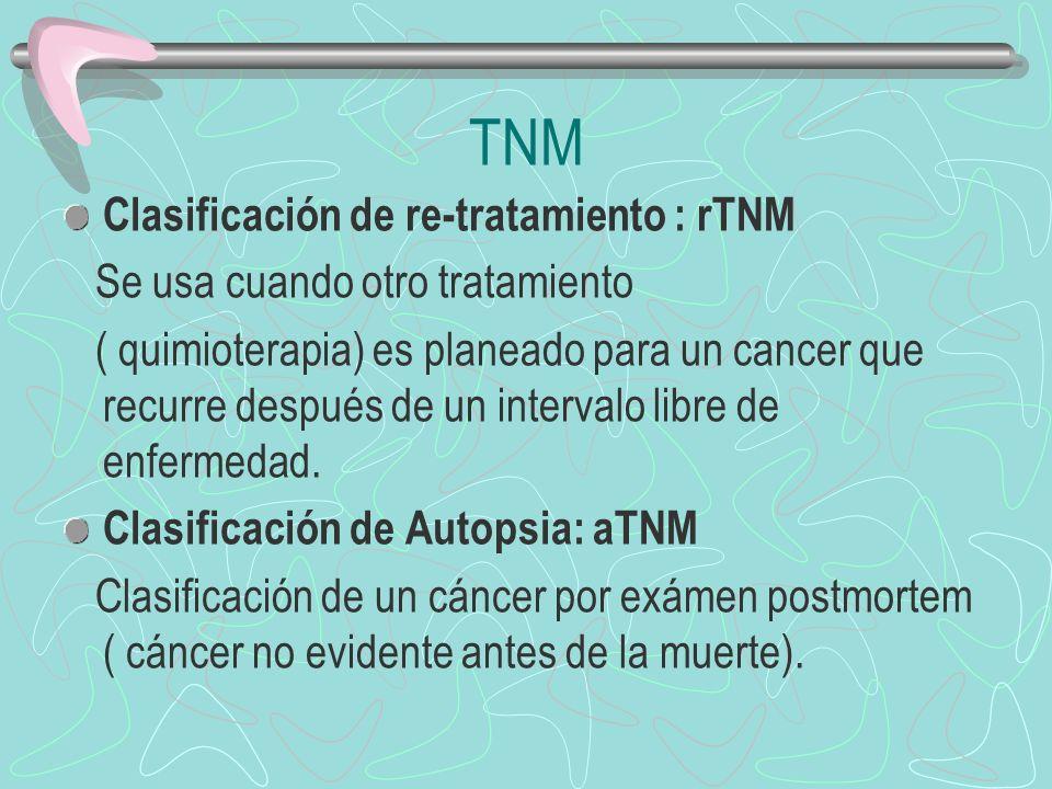 Clasificación de re-tratamiento : rTNM Se usa cuando otro tratamiento ( quimioterapia) es planeado para un cancer que recurre después de un intervalo