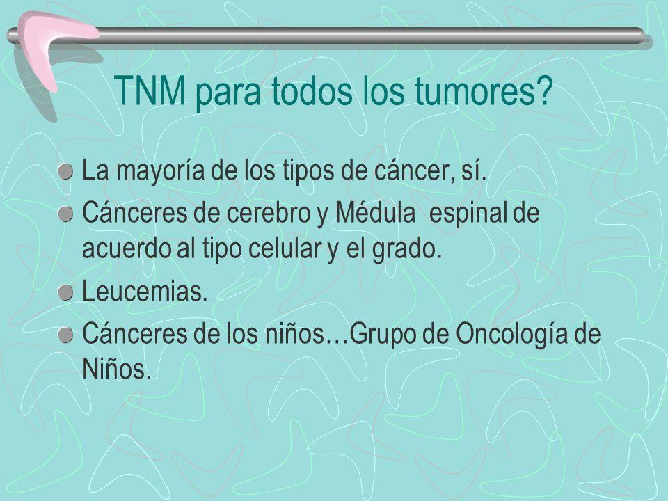 TNM para todos los tumores? La mayoría de los tipos de cáncer, sí. Cánceres de cerebro y Médula espinal de acuerdo al tipo celular y el grado. Leucemi