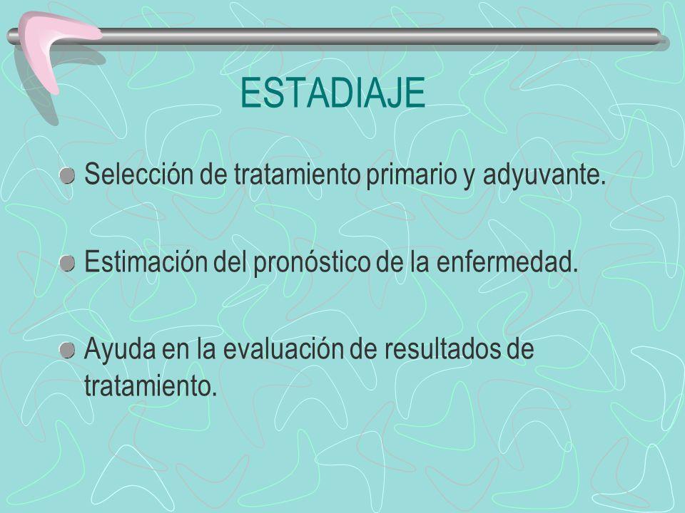 ESTADIAJE Selección de tratamiento primario y adyuvante. Estimación del pronóstico de la enfermedad. Ayuda en la evaluación de resultados de tratamien