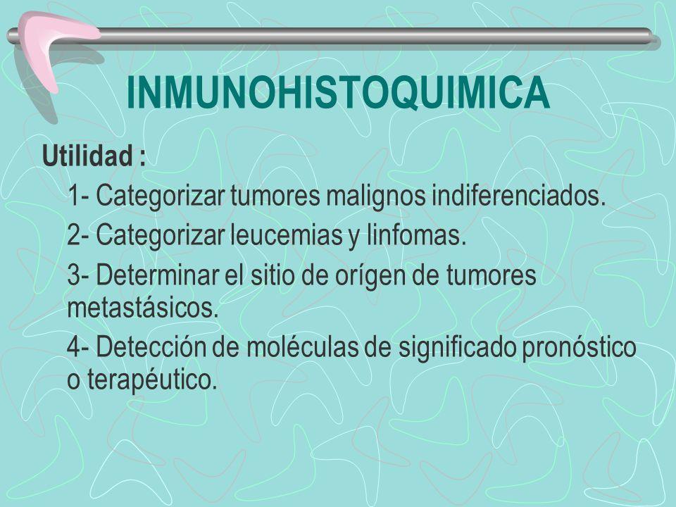 Utilidad : 1- Categorizar tumores malignos indiferenciados. 2- Categorizar leucemias y linfomas. 3- Determinar el sitio de orígen de tumores metastási