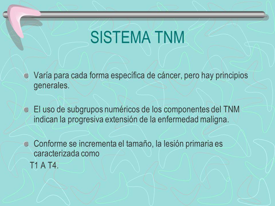 Varía para cada forma específica de cáncer, pero hay principios generales. El uso de subgrupos numéricos de los componentes del TNM indican la progres