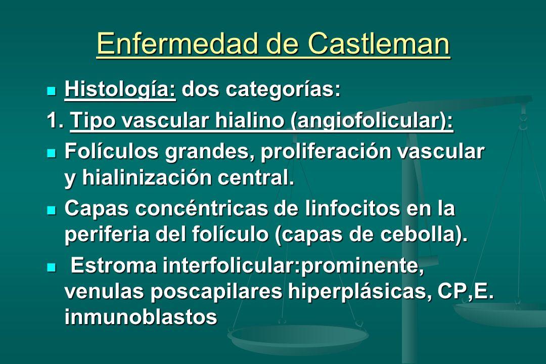 Enfermedad de Castleman Histología: dos categorías: Histología: dos categorías: 1. Tipo vascular hialino (angiofolicular): Folículos grandes, prolifer
