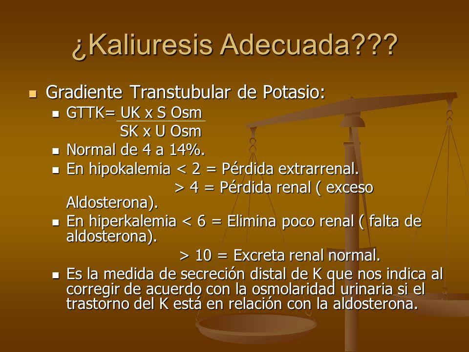 ¿Kaliuresis Adecuada??? Gradiente Transtubular de Potasio: Gradiente Transtubular de Potasio: GTTK= UK x S Osm GTTK= UK x S Osm SK x U Osm SK x U Osm