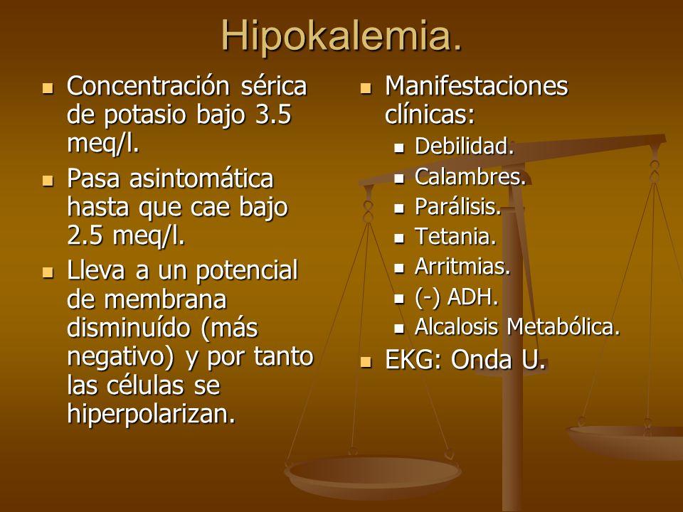 Hipokalemia. Concentración sérica de potasio bajo 3.5 meq/l. Concentración sérica de potasio bajo 3.5 meq/l. Pasa asintomática hasta que cae bajo 2.5