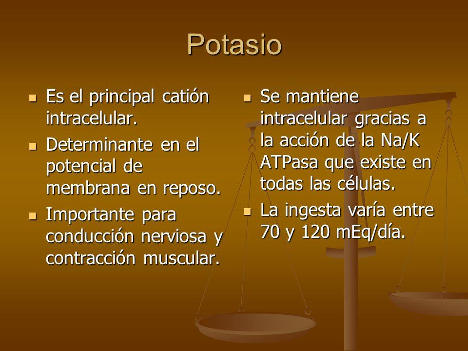 Potasio Es el principal catión intracelular. Es el principal catión intracelular. Determinante en el potencial de membrana en reposo. Determinante en
